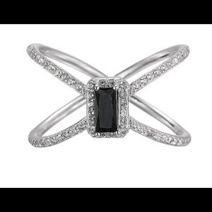 Black Onyx Criss Cross Ring